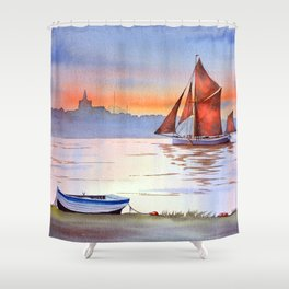 Thames Barge At Maldon England Shower Curtain