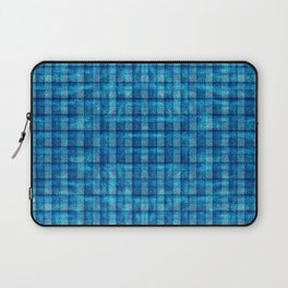 Ocean Blue and Pale Velvety Gingham Plaid Texture Laptop Sleeve