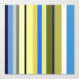 Blue and Moss Stripes Canvas Print