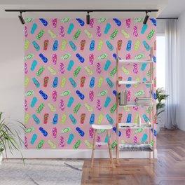 Flip Flops Pattern Pink Wall Mural