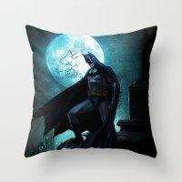 bat man Throw Pillows featuring BAT man by Electra