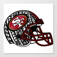 49ers Canvas Prints featuring Tribal Style 49ers by Lonica Photography & Poly Designs