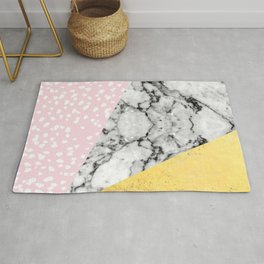 Corvi - marble gold foil and pink pastel painting abstract art dorm college nursery decor gifts Rug