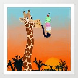 Giraffe Eating Icecream Art Print
