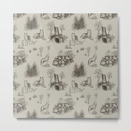 Eurasian Wolf Toile Pattern (Beige and Brown) Metal Print