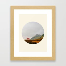 Lonely Icelandic Church Mountains Landscape Round Photo Framed Art Print