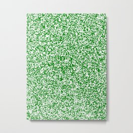 Tiny Spots - White and Green Metal Print