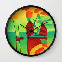 Chinese Junks On Still Waters Wall Clock
