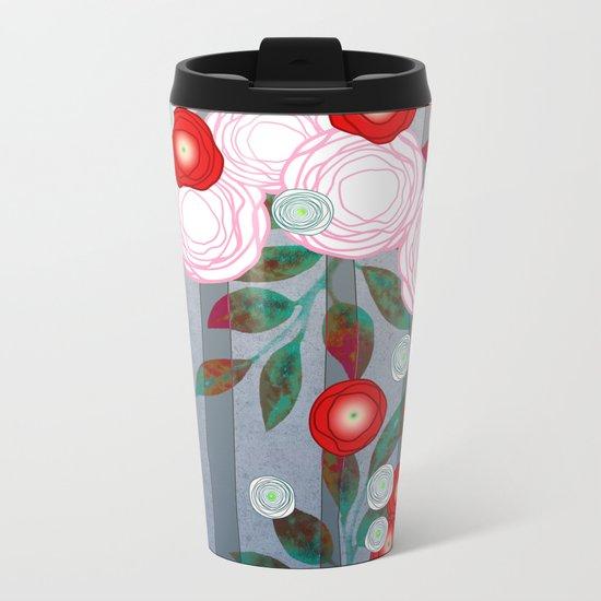 Flowers Summery Design Metal Travel Mug