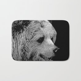 kodiak brown bear vector art black white Bath Mat