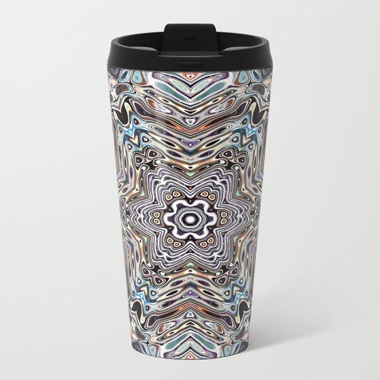 Colorful Kaleidoscopic Abstract Metal Travel Mug