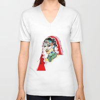 indian V-neck T-shirts featuring Indian by Cemile Demir Uzunoglu