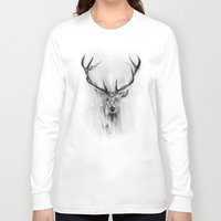 fire Long Sleeve T-shirts featuring Red Deer by Alexis Marcou