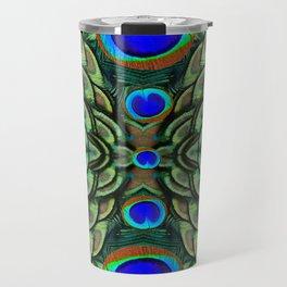 Green-Blue Peacock Feathers Art Patterns Travel Mug