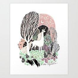 White Unicorn Art Print