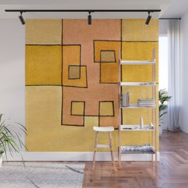 Protoglifo 04 'yellow hugging pink' Wall Mural