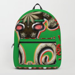 Angry Christmas Reindeer Green Background Backpack