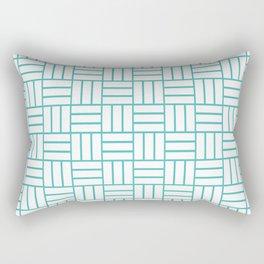 Basketweave (Teal & White Pattern) Rectangular Pillow