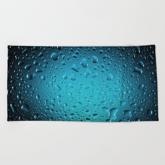 Stylish Cool Blue water drops Beach Towel