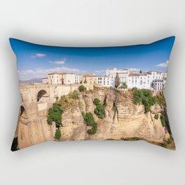 Puente Nuevo stone bridge and Pueblos Blancos in mountaintop town of Ronda in Spain Rectangular Pillow