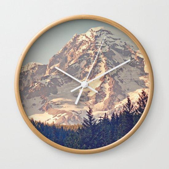 Mount Rainier Retro Wall Clock