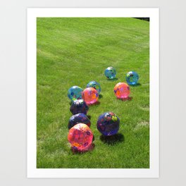 Colorful balls on the grass  Art Print