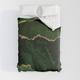Beautiful Emerald And Gold Marble Design Comforters