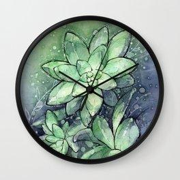 Crystal Succulents in Watercolor Wall Clock