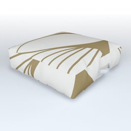 Diamond Series Floral Diamond Twist Gold on White Outdoor Floor Cushion