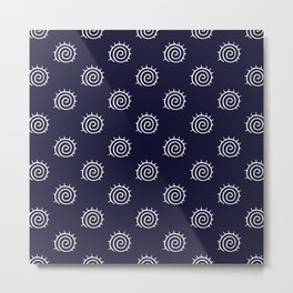 nautical blue and white spiral pattern Metal Print