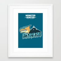 monster hunter Framed Art Prints featuring Monster Hunter All Stars - Pokke Permafrosts  by Bleached ink