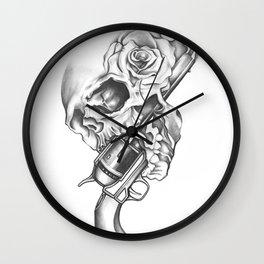 Skull Gun Rose Wall Clock