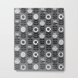 Scandi - modern flower floral pattern scandinavia design retro mid century print monochromatic grey  Metal Print