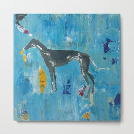 Greyhound Dog Abstract Painting Metal Print