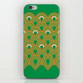 retro sixties inspired fan pattern in green and orange iPhone Skin