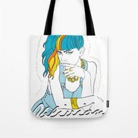 grimes Tote Bags featuring GRIMES OBLIVION by nufertity