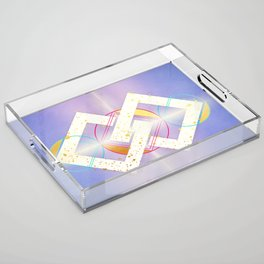 Linked Lilac Diamonds :: Floating Geometry Acrylic Tray