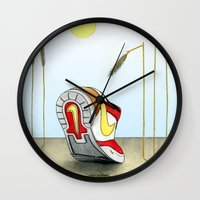 nike Wall Clocks featuring Nike by Alex Drubetsky