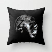 fullmetal Throw Pillows featuring Edward Metal by BradixArt
