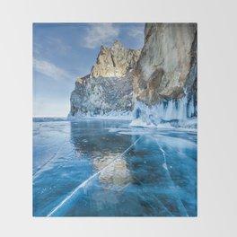 Blue Ice of the Lake Baikal Throw Blanket