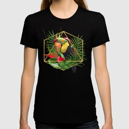 Bold Golden Geometric Tropical Bouquet With Toucan T-shirt