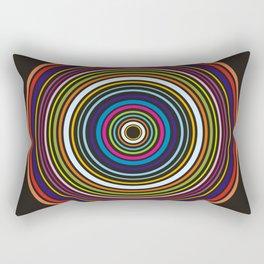 Colorful centered circles on black Rectangular Pillow