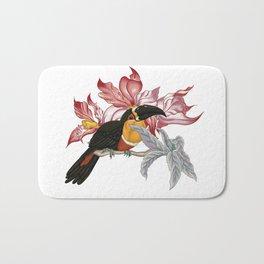 Parrot on a twig - rose Bath Mat
