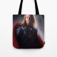thor Tote Bags featuring Thor by Angela Taratuta
