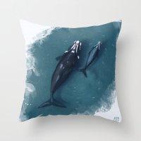 whales Throw Pillows featuring whales by Daniela Di Gennaro