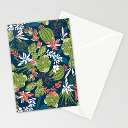 Succulent Garden Navy Stationery Cards