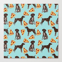 German Shorthair Pointer dog breed pet art pizza slices pattern design by pet friendly dog lovers Canvas Print