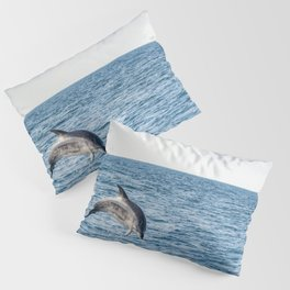Leaping Wild Dolphin - Retro style illustration Pillow Sham