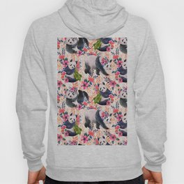 Watercolor pattern with pandas and flowers. Hoody