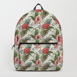 Tropical Flower and Leaves Be like a Pineapple Quote Backpack